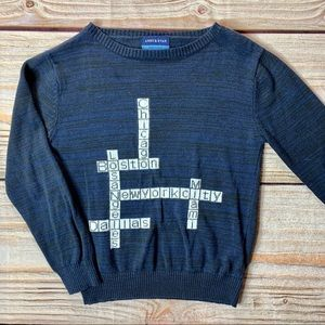 Andy & Evan navy cities crossword sweater size 6